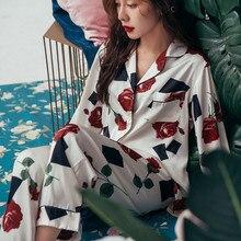 Pyjamas Set Women Autumn Rose Home Clothes Sleepwear Set Pyjama Femme Sexy Lingerie Stitch Nightwear Suit Satin Pajamas