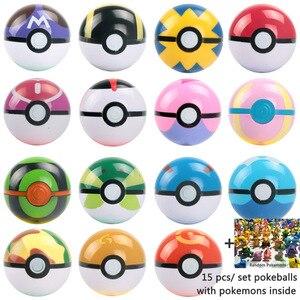 Image 2 - 7 см Pokeballs с Пикачу монстров внутри коллекционные игрушки для детей 21 шт./компл. карман игрушки монстры Пикачу Pokeballs подарки