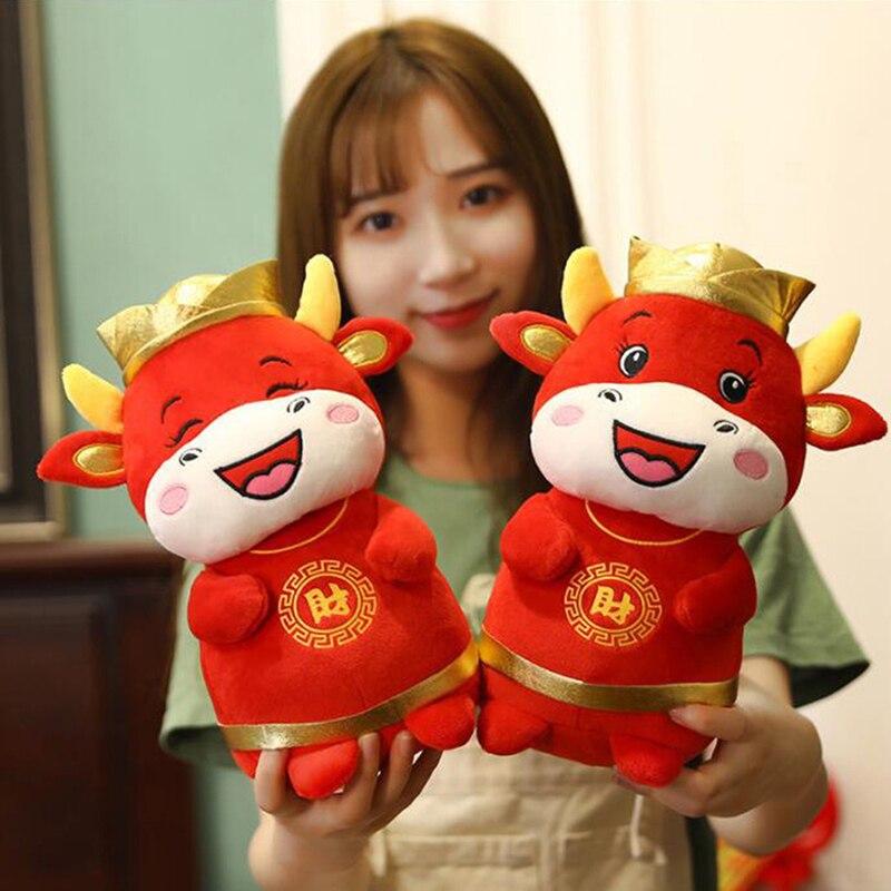 1 PC 22cm 2021 Year Chinese Zodiac Ox Cattle Plush Toys Cute Red Milk Cow Mascot Plush Doll Stuffed For Children Kids Gift-4