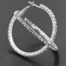 0.78~3.1in Large Rhinestone Hoop Earrings Fashion Minimalist Style Round Shiny For Women Jewelry Pendientes Gifts цена 2017