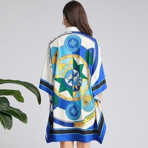 Image 5 - 2019 סתיו אופנה גלימת שמלה באיכות גבוהה די תורו למטה צווארון נשי רופף פאייטים שמלה