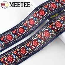 2/4Yards 5cm Eco-Friendly Ethnic Embroidered Webbings Ribbons Bag Strap Sewing Webbing Tape DIY Garment Clothing Accessories