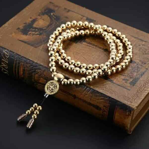 Outdoor Copper Steel Chain108 Buddha Beads Self Defense Hand Bracelet Necklace Chain Full Personal Protection weapon Multi Tool