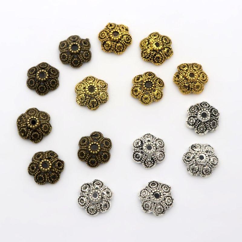 150pcs Antique Silver//Bronze Bead Caps for Jewelry Making Bracelet Accessories