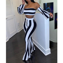 Striped Print Crop Top Bell-bottomed Pants Sets women two pi