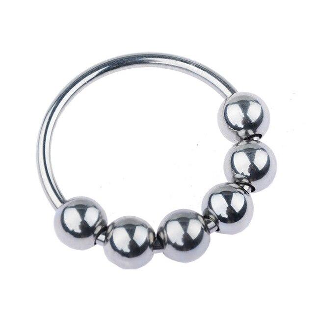 Metall Penis Ring Sex Spielzeug für Männer Verzögerung Ejakulation Edelstahl Cock Ring Mit 6 Perlen Eichel stimulator 5