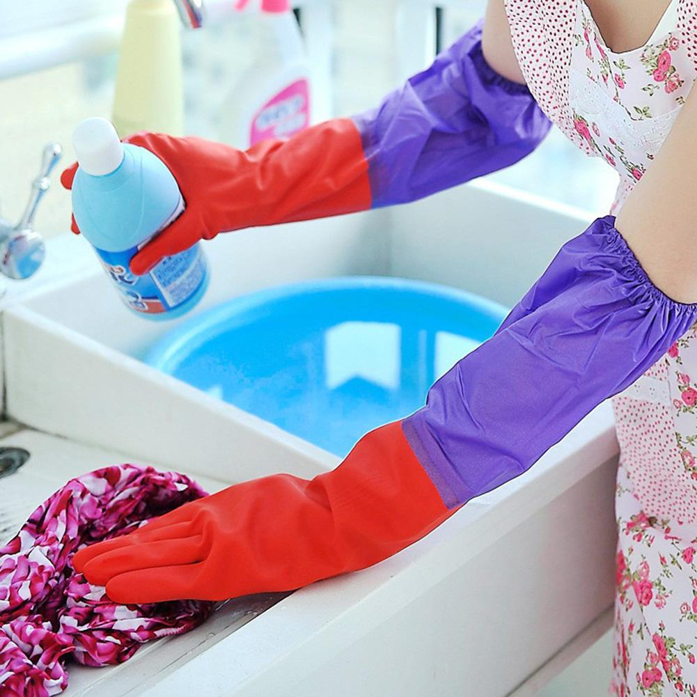 1 Pair Waterproof Housework Long Cuff Rubber Latex Bowl Clothes Cleaning Gloves Prevent Bacteria In Stock! High Quality