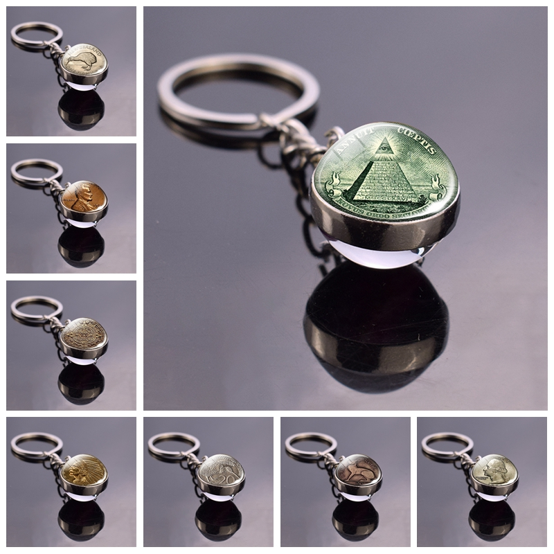 Eye Of Providence Double Side Glass Ball Keychain One Dollar Coin Keychain Keyring All Seeing Eye Key Rings Key Holder