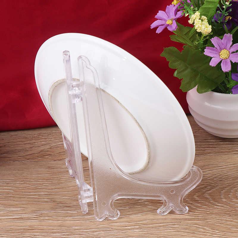 1 par de soporte de plástico para exhibición de té, estante para platos, soporte de Pedestal para libros de fotos, Plato decorativo para el hogar, marcos de fotos