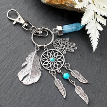 Kleine Handgemaakte Veer Dream Catcher Sleutelhanger Sleutelhanger Decor Auto Zak Opknoping Decoratie Hanger Nieuwe Jaar Dreamcatcher Gift #8(China)