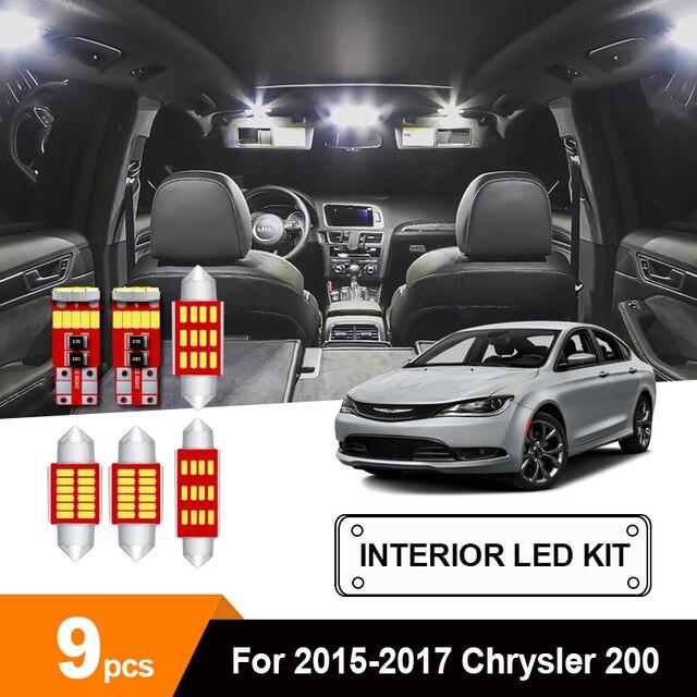 9 x White Ice Blue Error Free Car LED License Plate Bulb Package Kit For 2015-2017 Chrysler 200 Interior Reading Dome Cargo Lamp 1