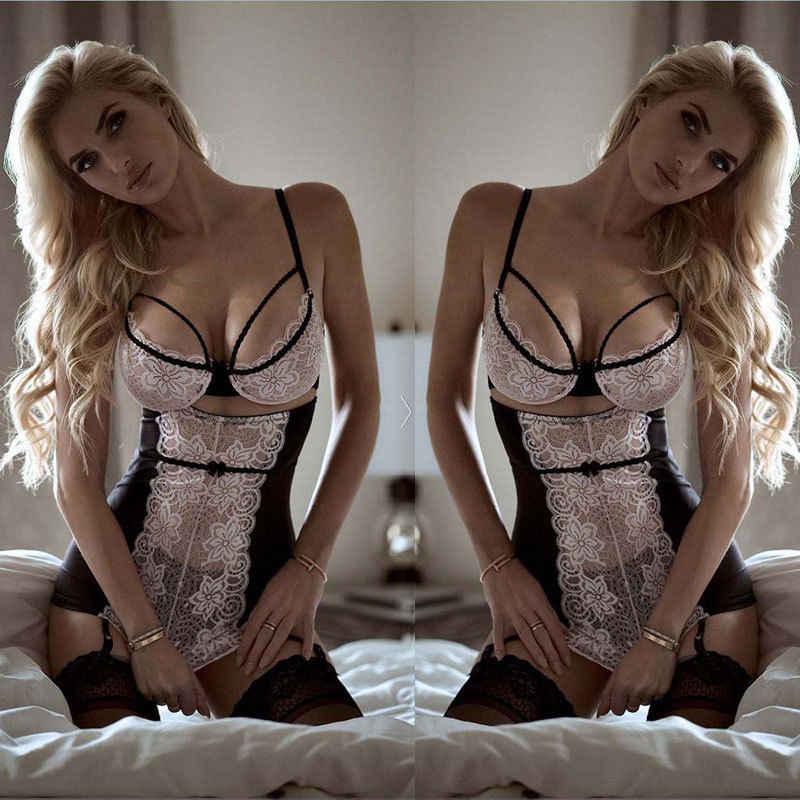 섹시한 레이스 솔리드 란제리 여성 g-문자열 뜨거운 에로 Babydoll 잠옷 가운 섹시한 속옷 드레스 섹스 의상 XXXL 플러스 사이즈 포르노