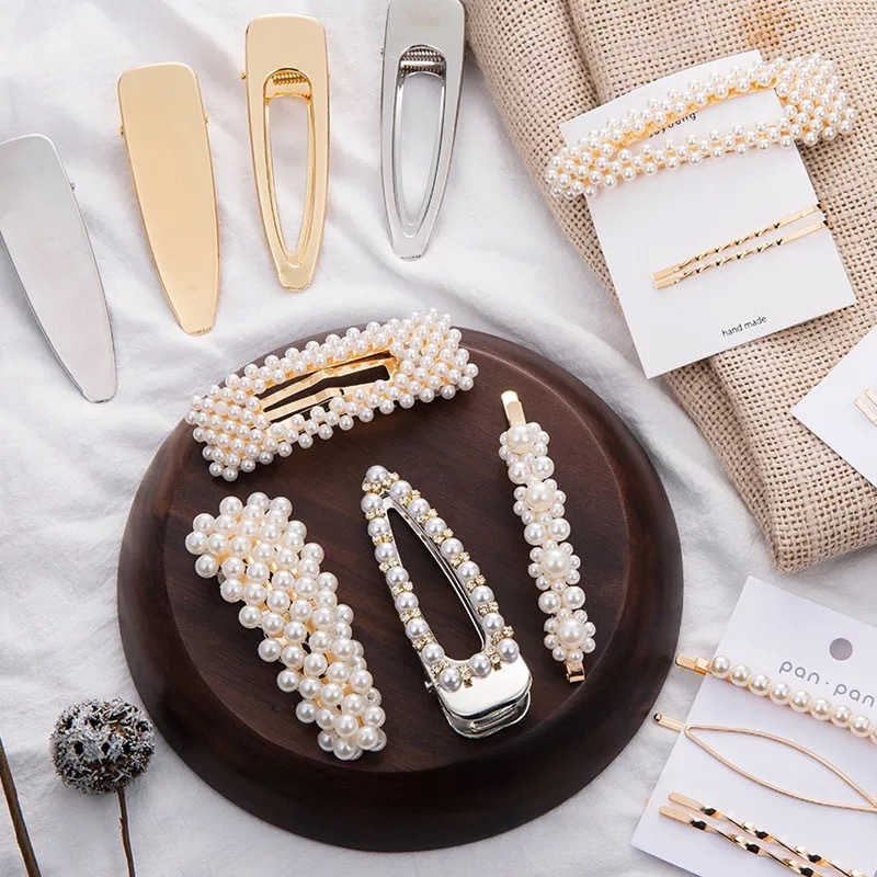 2019 Hot Fashion Women Hair Clip Geometric Pearl Hair Accessories Hairpins Alloy Metal Barrettes Girls Convenient Hair Jewelry