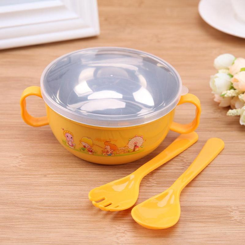 3pcs Cartoon Tableware Set Baby Feeding Training Bowl With Spoon Set Baby Kids Stainless Steel Kids Plate Suck 300ml