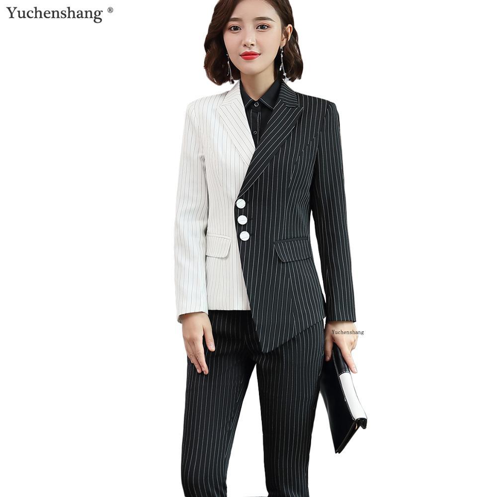 New Women Black White Asymmetrical Striped Pant Suit Office Lady OL Jacket Blazer And Pant 2 Piece Suit Set