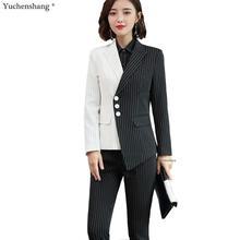 New Women Black White Asymmetrical Striped Pant Suit Office Lady OL Jacket Blaze
