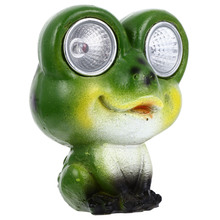 Solar Powered Frogs Lawn Ornament Resin Art Craft Lovely Lamp Decoration (Green)