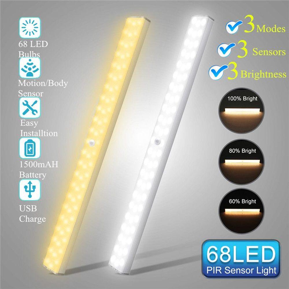 1500mAh USB Перезаряжаемый 68 светодиодный светильник под шкаф PIR датчик движения затемняемый шкаф ночник для шкафа кухонный шкаф