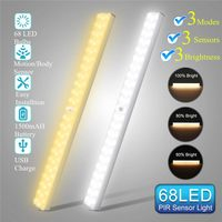 1500mAh USB Rechargeable 68 LED Under Cabinet Light PIR Motion Sensor Dimmable Closet Night Light for Wardrobe Cupboard Kitchen