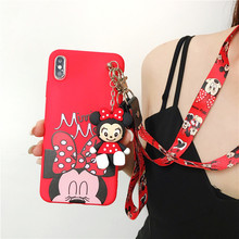 Wrist Strap Minnie Mouse Phone Case For Huawei Y3 Y5 Y6 Y7 Y