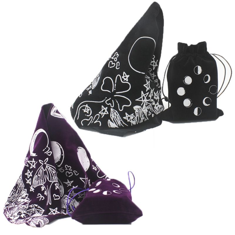 Velvet Tarot Tablecloth With Bag Witch Divination Moon Phases Lover  Luna Moth Altar Cloth Board Game Card Pad