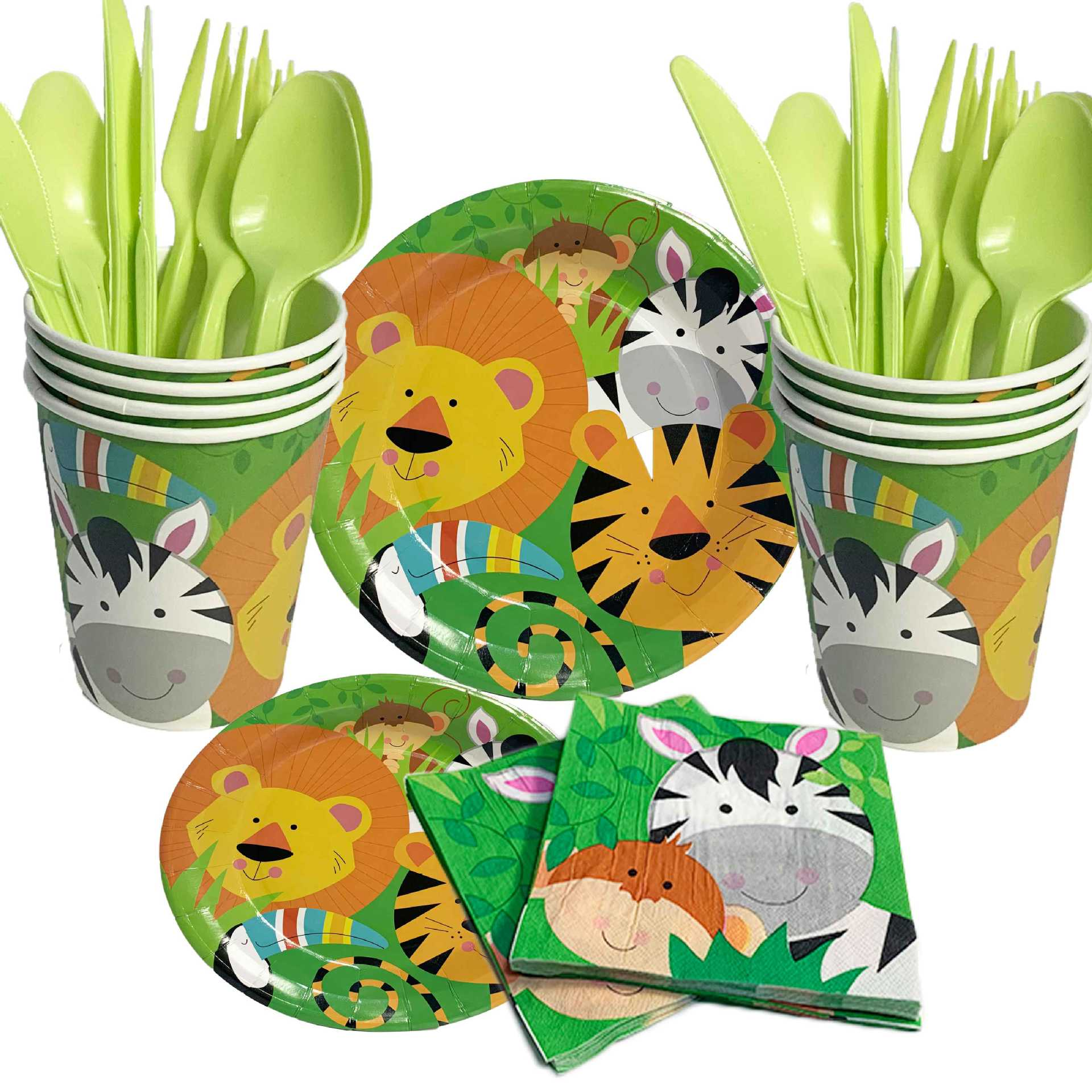 Jungle Animal Party Theme Decoration Set  Cartoon Monkey Lion Tiger Birthday Paper Plates Dessert Cups Party Supplies Table Cove