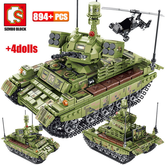 894pcs Military Panzer Tank Model Building Blocks WW2 Helicopter City Truck Soldier Figures Bricks Toys For Boys 1