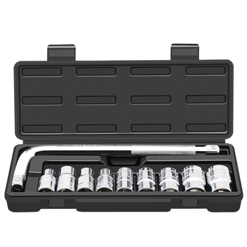 10-Piece Socket Set Car Repair Tool Ratchet Set Torque Wrench L-Rod Tire Removal Kit Chrome Vanadium Steel Remove Socket Wrench 79 in 1 jakemy screw driver sleeve extension rod head for household appliance repair kit screwdriver socket set chrome vanadium