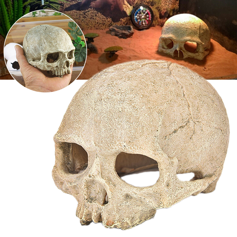 14cm Aquarium Resin Skull Artifical Skeleton Decoration Ornament For Fish Tank Aquarium Reptile Cave House