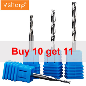 Image 2 - Vsharp CNC Engraving Router Bit Flat Nose End Mill 2 Two Flutes Spiral Upcut Milling Cutter Tool Carbide Bits for Wood MDF PVC