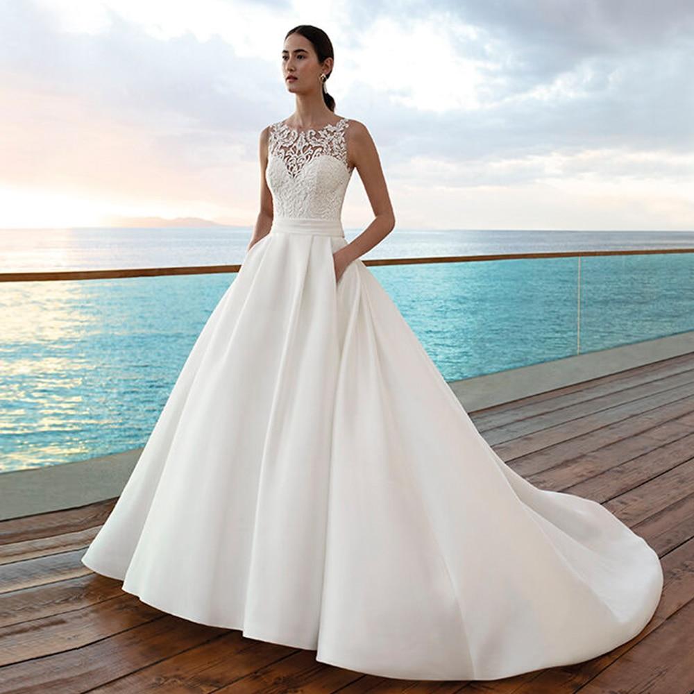 Gelinlik Satin Ball Gown Wedding Dresses 2019 O-neck Simple Vestido De Novia Appliques Corset Luxury Robe De Mariage Bridal Gown