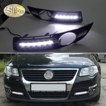 For VW Volkswagen Passat B6 2007 2008 2009 Super bright Waterproof car light DRL LED Daytime Running Lights with fog lamp hole цена 2017