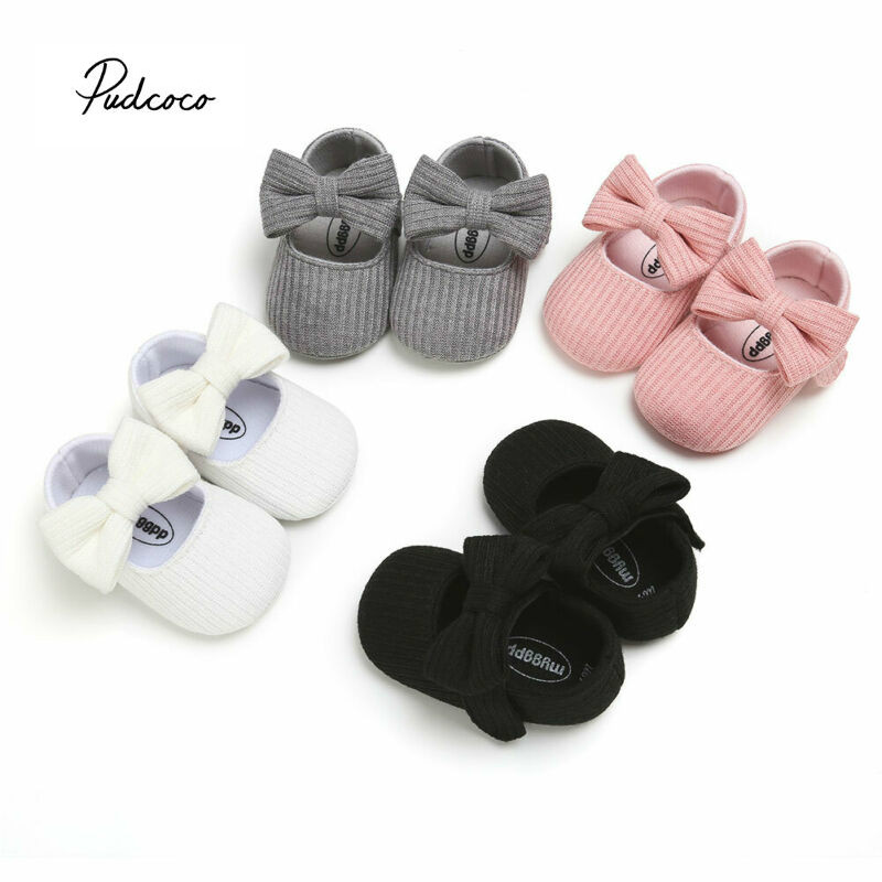 New Toddler Baby Fashion First Walkers Sneakers Princess Shoes PU Bow Crib Sole Kids Children Girl Casual Shoes