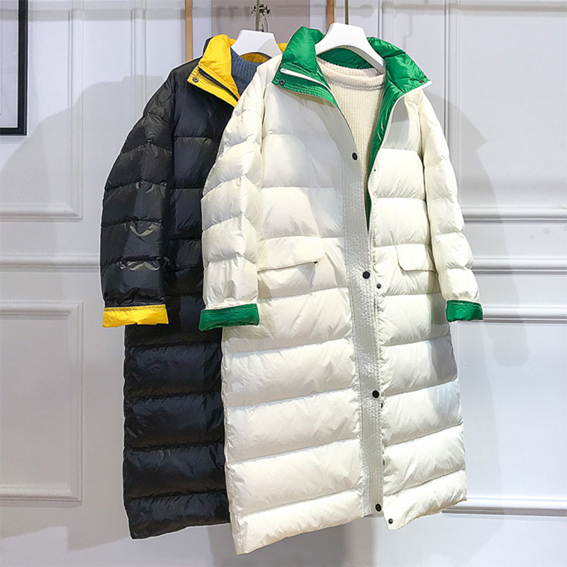 Super Light Women Down Jacket White Duck Down Filling Patchwork Fashion Women Winter Coat Oversize Loose Female Overcoat G870