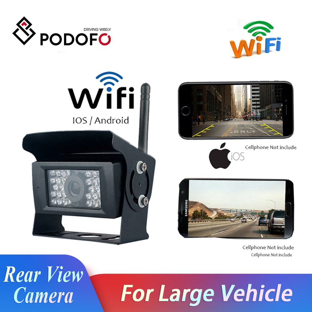 Podofo WIFI Reversing Camera Dash Cam 28 IR Night Vision Car Rear View System Waterproof Vehicle Cameras for iPhone and Android