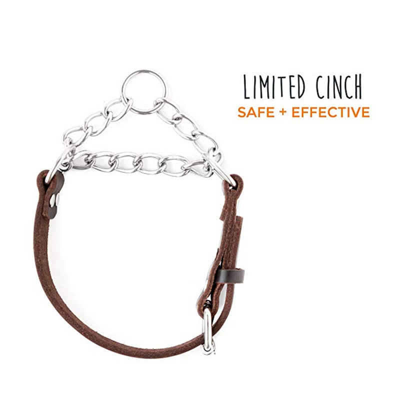 Genuine Leather Training Dog Neck Ring Leash Stainless Steel Chain Can Be Installed Tracker Neck Ring Pet Dog Leather Neck Ring