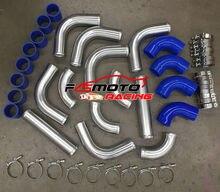 Tubería Turbo de Intercooler de aluminio de 2,25 pulgadas, manguera azul y kit de abrazadera T de 57mm