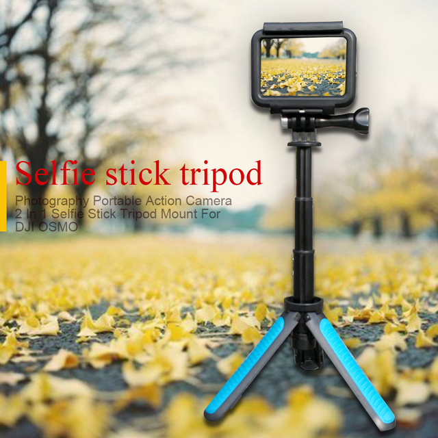 Selfie Stick Accessories Action Camera Outdoor Handheld Portable Non Slip Tripod Mount 2 In 1 Mini Pole Extendable For DJI OSMO