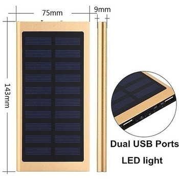 30000mAh Solar Power Bank Large Capacity Ultra Thin 9mm with LED Light External Solar Charger travel Powerbank for All Phone 6