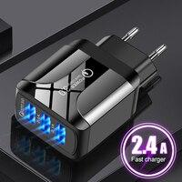 QC3.0 caricatore rapido universale USB 3 porte caricabatterie rapido per telefono cellulare 5V2.4A caricatore da viaggio con presa EU/US/UK