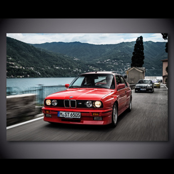 Wall Art Poster Modular BMW E30 1986 Front Red Car Pictures HD Printed Motion Coupe Canvas Painting Home Decor Room No Framed image