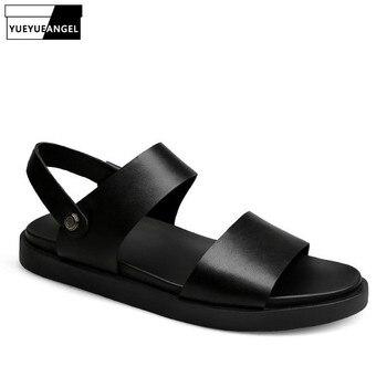 Slip On Black Men Sandals Slippers 2020 Summer Shoes Beach Flip Flops Famous Brand Street Leather Casual Shoes Plus Size 45