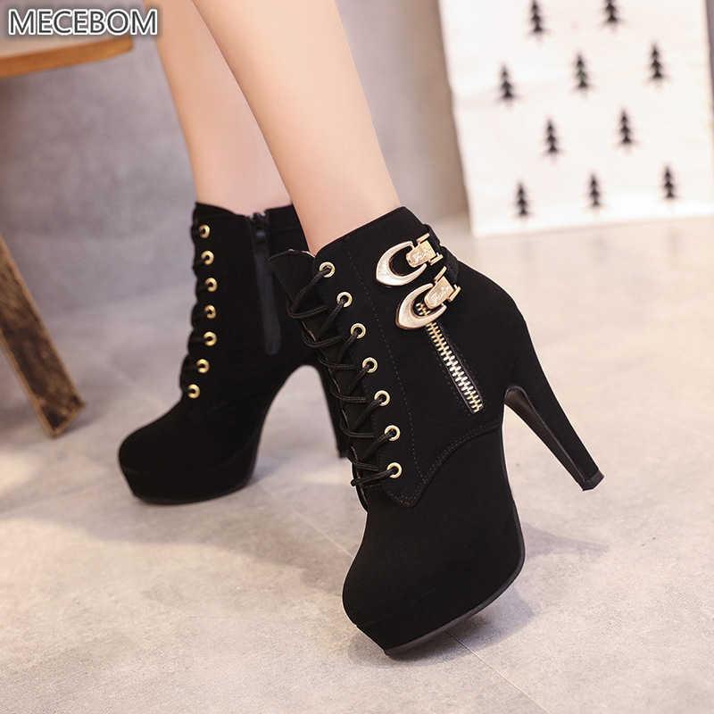 Mecebom 9818W kış deri kadın ince Extreme yüksek topuklu siyah düğün ayak bileği platformu takozlar ayakkabı düğün botları botas mujer