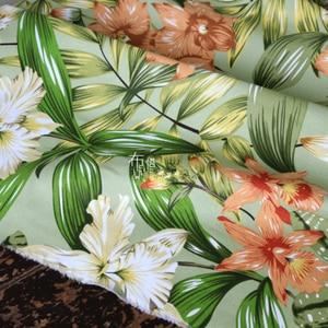 Зеленая Лилия печать активный хлопок армированный холст ткань