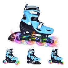 2020 4 in 1 Adjustable Inline Skates Kids Flashing Roller Skates Four Roller Skates Outdoor Children Skates