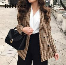 Rubilove Fashion Autumn Women Plaid Blazers and Jackets Work Office Lady Suit Slim Double Breasted Business Female Blazer Coat long blazers casual solid double breasted women blazer and jackets feminino work office lady notched flap pocket business blaser
