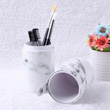 1pc Travel PU Marbling Makeup Brushes Pen Holder Brushes Storage Cosmetic