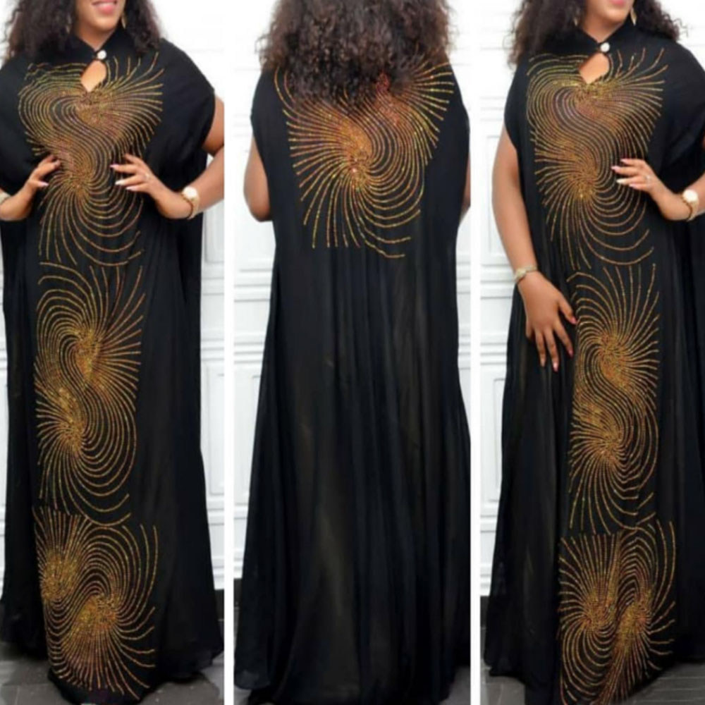 2020 African Loose Straight Long Dress Women Diamond Swirl Pattern Maxi Prom Party Dresses Black Purple Vintage Vestiods