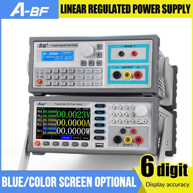 Fuente de alimentación regulada lineal programable para A-BF, fuente de Banco de energía CC ajustable de 6 dígitos, regulador de corriente de voltaje con pantalla a Color