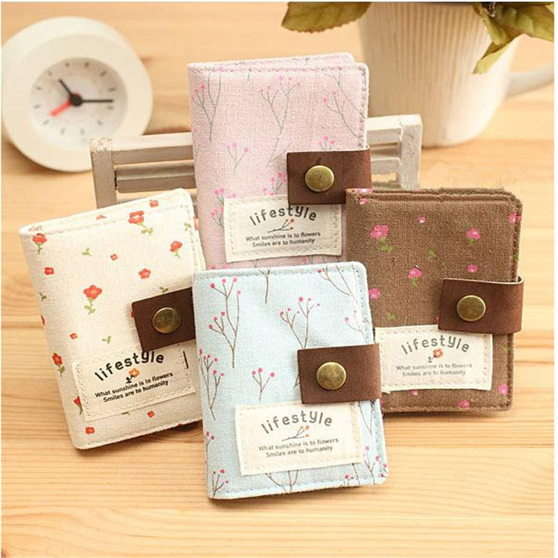 Fashion Women 20 Slot Floral Credit Card Holder ID Business Bank Card Wallet Cash Holder Canvas Credit Card Holder Bag 840075